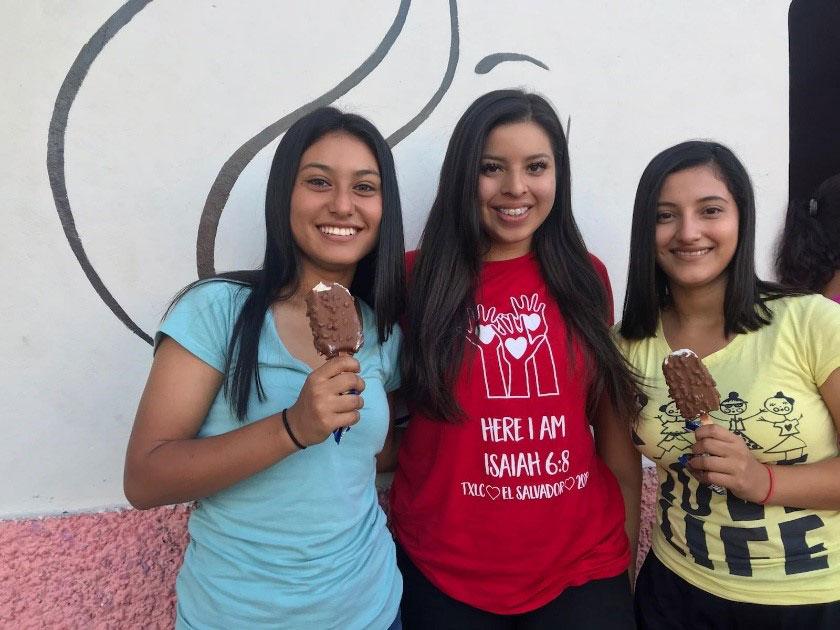 Three girls with ice cream