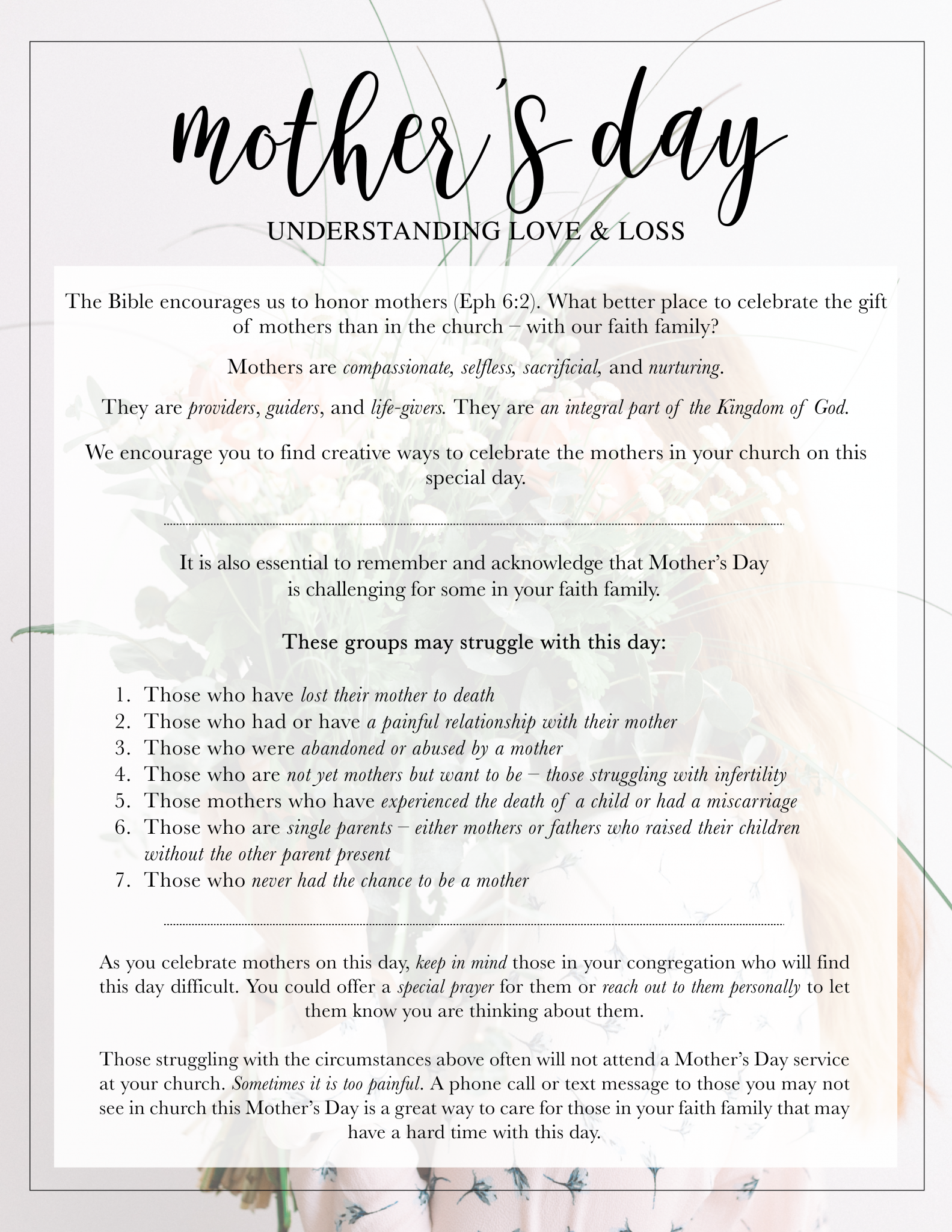 Description of Mother's Day and 7 groups to think about during this day.