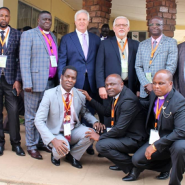 Bishop Gardner with leaders in Zambia