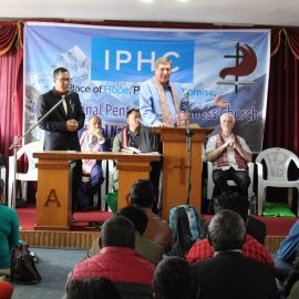Steve Cofer presenting at the first IPHC Nepal Nationwide Conference.