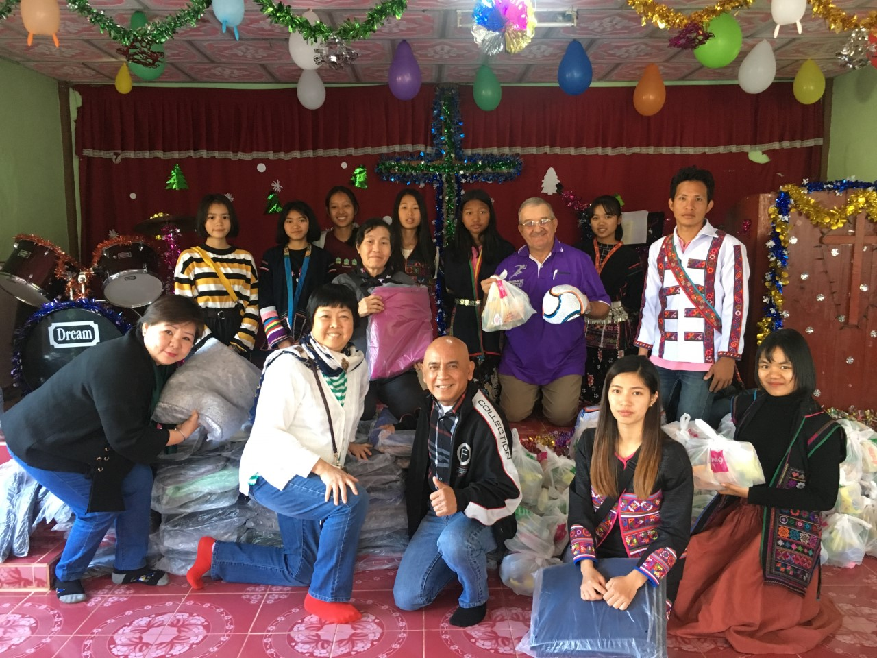 Our team with the Akha at the Khon Suey Church Christmas celebration