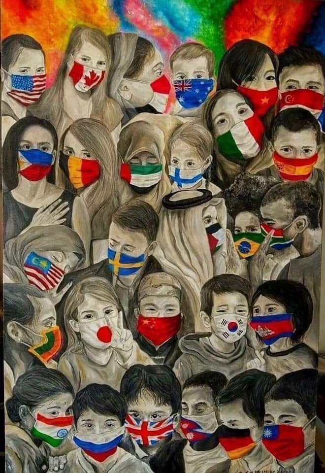 International children with masks