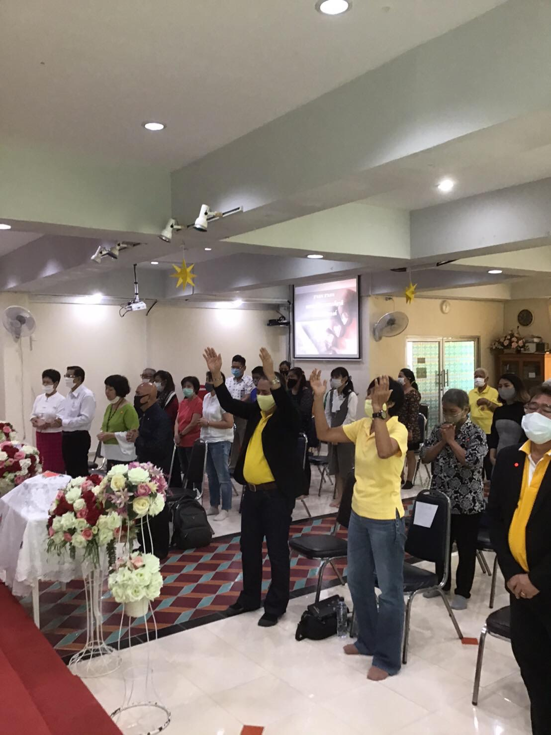 The first worship service at Don Muang Church, Bangkok