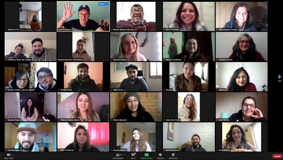 A screen shot of an online school of prophecy with over 50 students in Chile