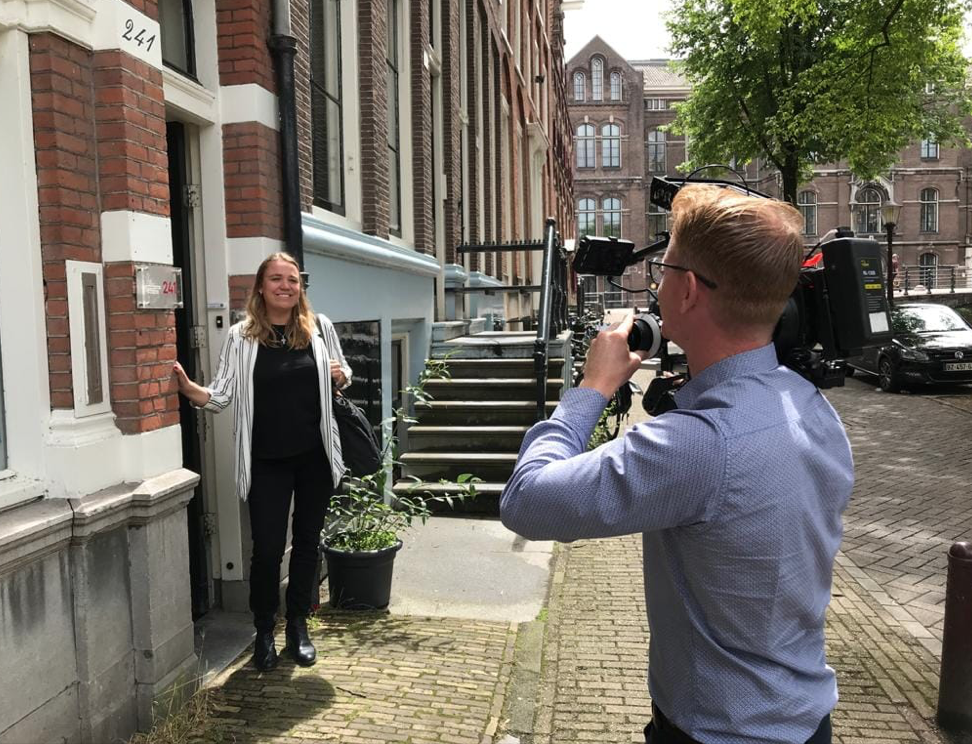 Femke being interviewed for national tv on how important programs are to help women quit prostitution