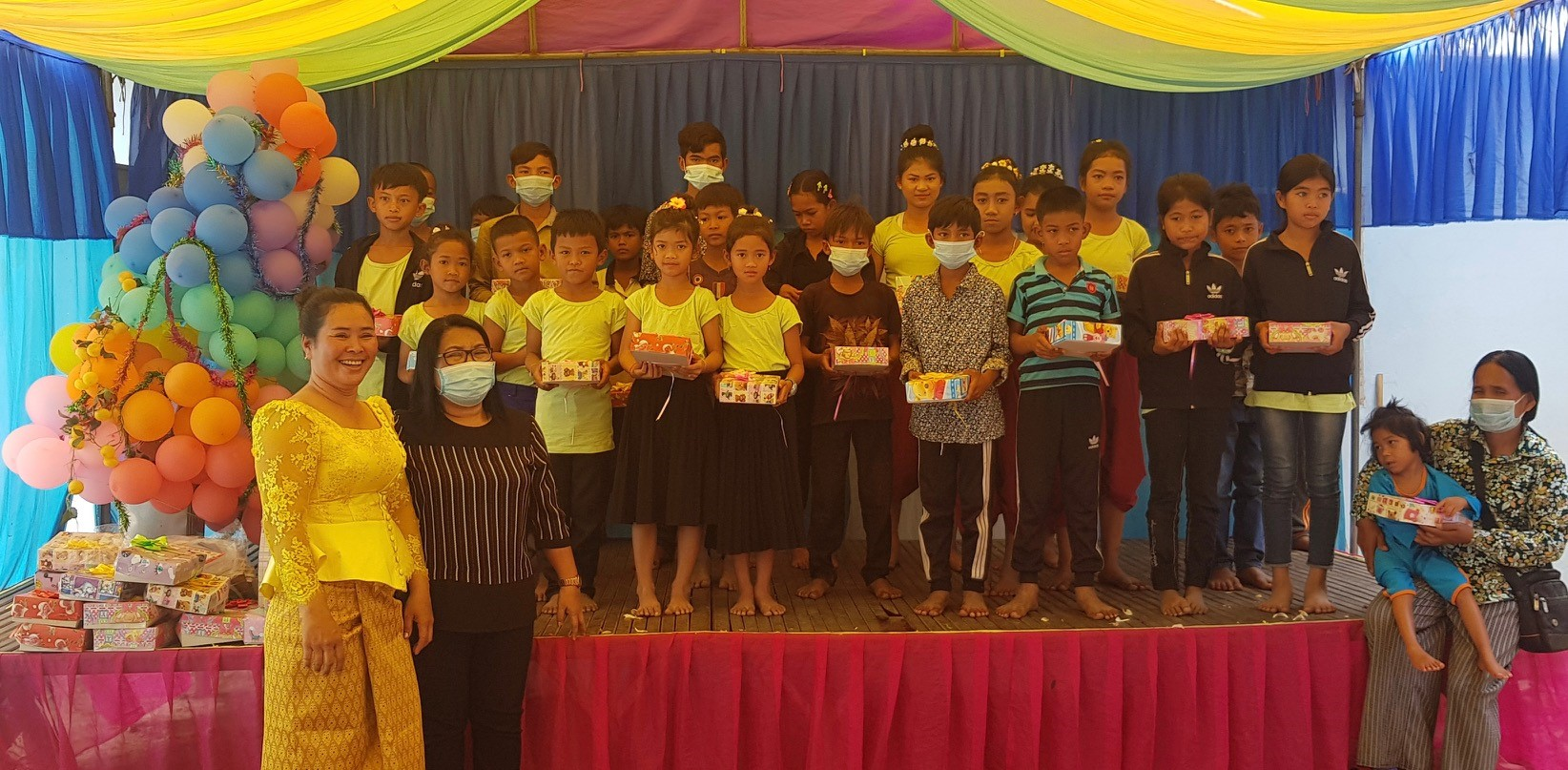 Merlen Lamanilao, Cambodia Country Director, (second from the left) was able to share Christmas Spirit gifts with local churches in January